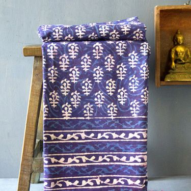 Indian printed bedsheet Bagru handicraft blue