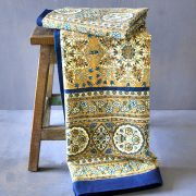 Indian printed bedsheet handicraft blue and beige