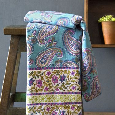 Indian printed bedsheet handicraft flowers blue