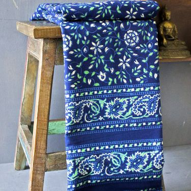 Indian printed bedsheet handicraft blue and green