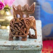 Indian sculpted marble statue Elephant red