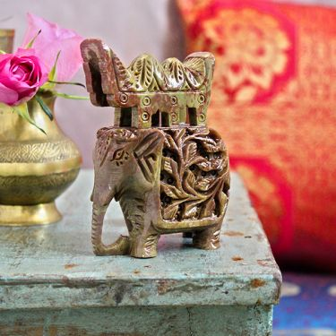 Indian sculpted marble statue Elephant 2-colors
