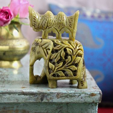 Indian sculpted marble statue Elephant green