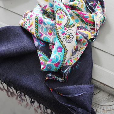 Indian scarf printed digital silk blue and pink