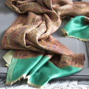 Indian Jamawar cotton scarf beige and green