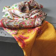 Indian scarf printed digital silk white and golden
