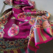 Indian 2 sides cotton scarf pink and green