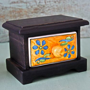 Indian box with a ceramic drawer