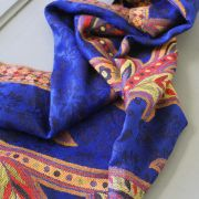 Indian mix cotton scarf blue and yellow