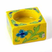 Indian ceramic candle stand yellow