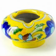 Indian ceramic ashtray yellow