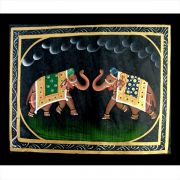 Indian miniature painting Elephants green and blue