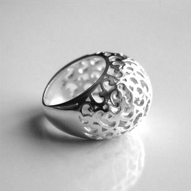 Indian silver ring Bee T57