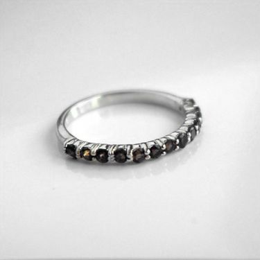 Indian silver ring and smokey topazes T55