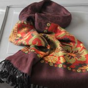 Indian cotton scarf plum and red