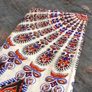 Indian cotton wall hanging Mandala white and orange