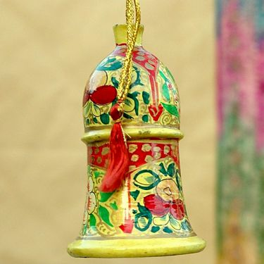 Indian bell Pendant paper mache yellow