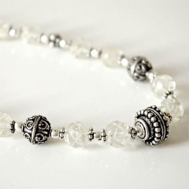 Fancy Indian necklace mala white
