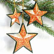 3 Christmas stars orange ornament