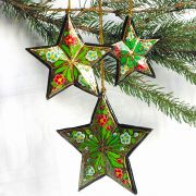 3 Christmas stars green ornament