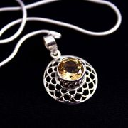 Silver and citrine Indian pendant