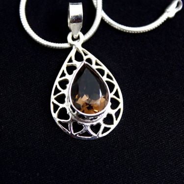 Silver and smokey topaze Indian pendant
