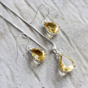 Set of Indian silver and citrine stones jewelry