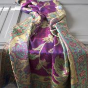Indian 2 sides cotton scarf blue and pink