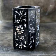 Pen holder Indian marble black hexa
