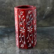 Pen holder Indian marble red round