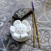 Indian marble incense sticks stand lotus