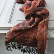Indian Jamawar cotton scarf dark brown