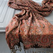 Indian cotton embroidered scarf black and orange