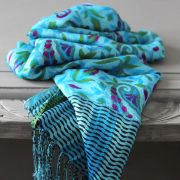 Indian scarf printed digital silk blue and cyan