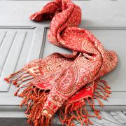 Indian cotton embroidered scarf red and beige