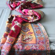 Indian 2 sides cotton scarf fuchsia and blue