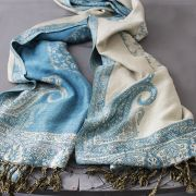 Indian cotton embroidered scarf light blue and beige