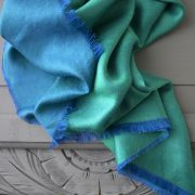 Indian 2 sides mixed silk scarf green and blue