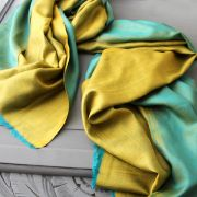 Indian 2 sides mixed silk scarf gold and blue