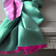 Indian 2 sides mixed silk scarf green and pink