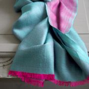 Indian 2 sides mixed silk scarf blue and pink