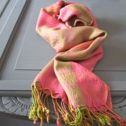 Indian cotton scarf pink and green