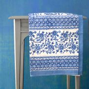 Indian printed cotton table cover white and blue