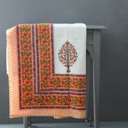 Indian printed cotton table cover white and orange