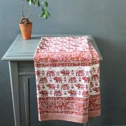 Indian printed cotton table cover white and brown