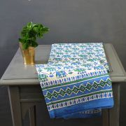 Indian printed cotton table cover blue and green