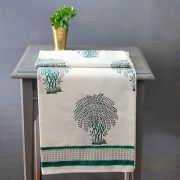 Indian printed cotton table cover green and grey