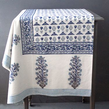 Indian printed cotton table cover blue and white