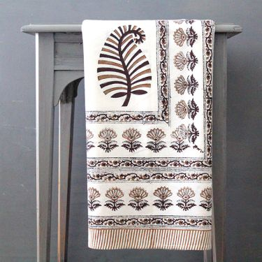 Indian printed cotton table cover brown and white