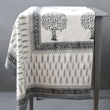 Indian printed cotton table cover grey and white